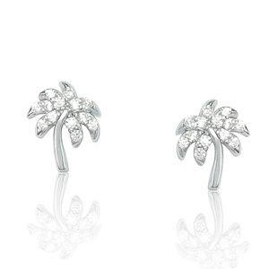 Jewelry - Simulated Diamond Tropical Palm Tree Earrings